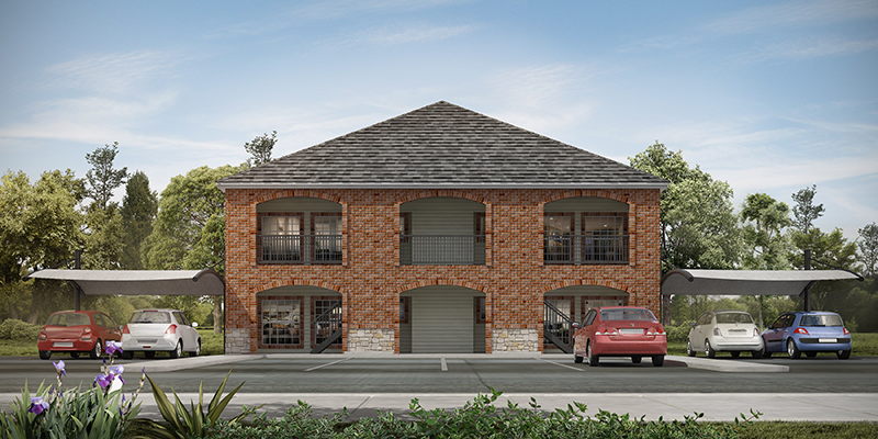 Digital rendering of the exterior of a multi-family home
