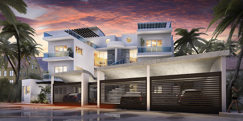 Digital rendering of the exterior of a multi-family home at dusk